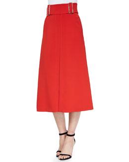 Baker Belted Crepe A-Line Skirt, Tomato