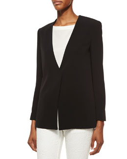 Cady Long Cross-Back Blazer, Black