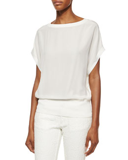 Bateau-Neck Dolman-Sleeve Top, White