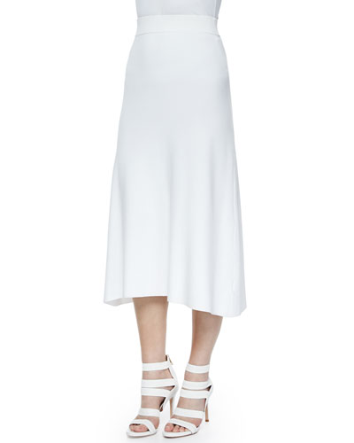 Cook Stretch A-Line Midi Skirt, White
