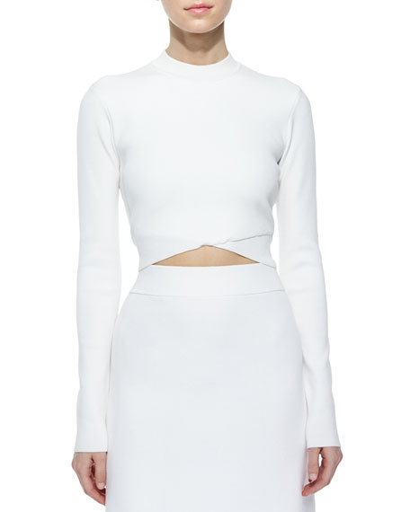 Ford Crossover Cropped Sweater, White