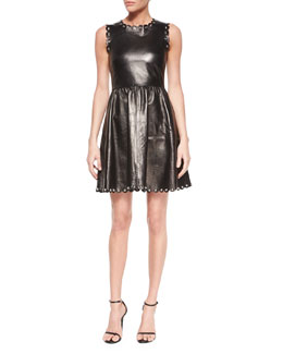 Sleeveless Fit-and-Flare Leather Dress