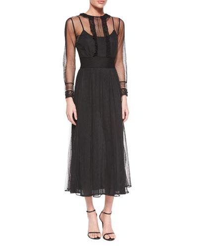 Long-Sleeve Chiffon Midi Dress