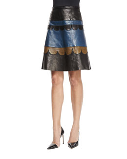 Scalloped Leather Colorblock Skirt