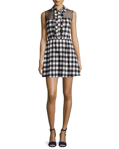 Point d'Esprit Yoked Sleeveless Plaid Dress