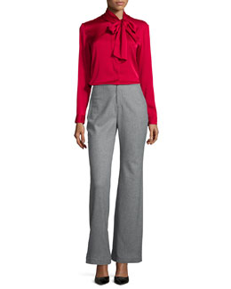 Carter Tie-Neck Silk Satin Blouse, Rouge