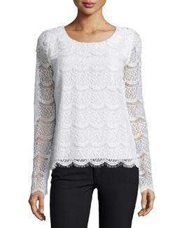 Mina Long-Sleeve Lace Blouse, Ivory