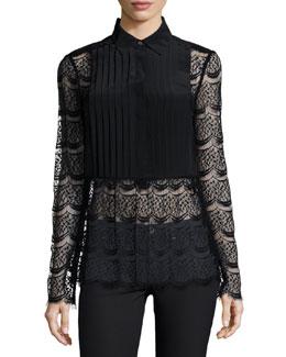 Meadow Lace Tuxedo Blouse, Black