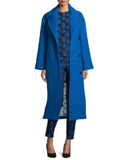 Long Belted Wool Coat, Blue