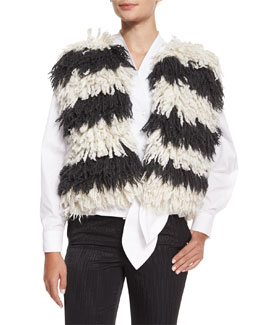 Striped Wool Fringe Vest, White/Black