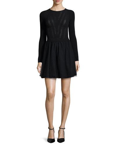 Long-Sleeve Knit Top Dress W/ Tulle Skirt