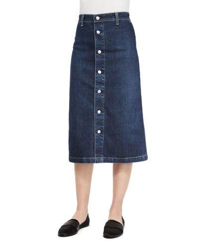 Cool Button-Front Denim Skirt, Beet