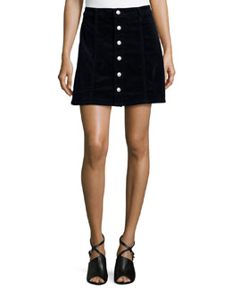 Kety Button-Front Denim Skirt, Dark Navy