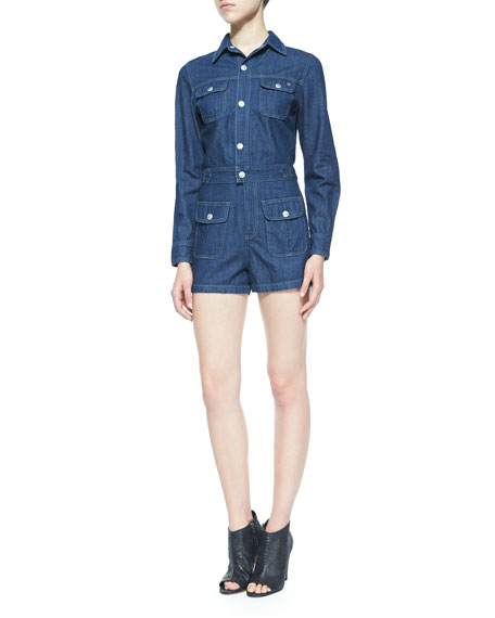Loretta Long-Sleeve Denim Jumpsuit, Hardy