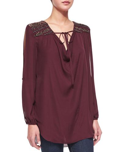 Embellished-Shoulder Front-Tie Blouse, Fig