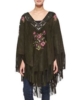 Embroidered Suede Poncho w/ Fringe, Dark Military