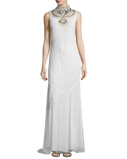 Mermaid Gown with Embellished Neckline