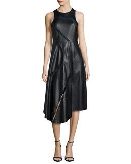 Asymmetric Leather Midi Dress, Black