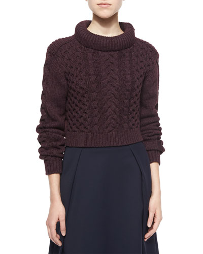 Cropped Cable-Knit Pullover Sweater, Burgundy