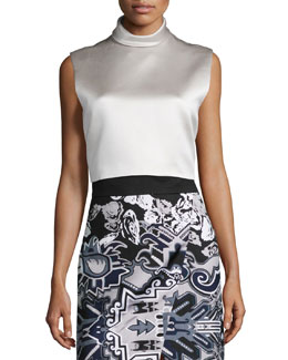 Sleeveless Satin Crop Top, Oyster
