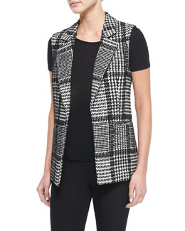 Eldora Houndstooth-Patterned Vest, Ivory/Black