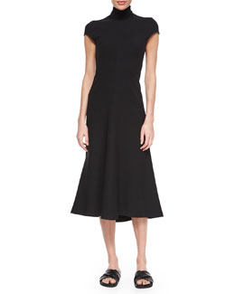 Kadrayel Cap-Sleeve Ponte Dress, Black