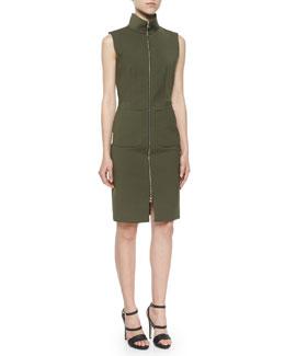 Mock-Neck Front-Zip Dress