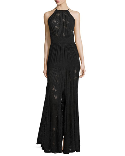 Penelope Jacquard/Chiffon Pleated Dress