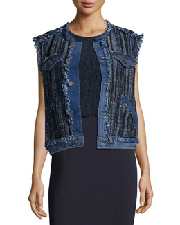 Denim & Tweed Vest, Blue