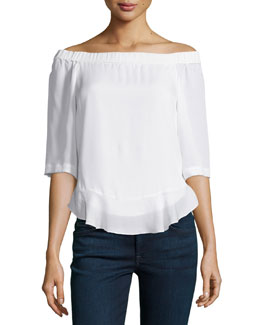 Silk Off-the-Shoulder Top, Chalk