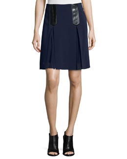 Faux-Leather-Trim A-Line Suiting Skirt, Navy