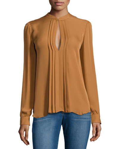 Lauren Pleated Keyhole Blouse, Gold