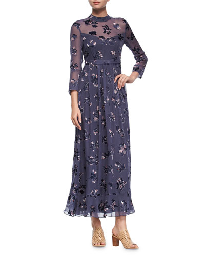 Long-Sleeve Alyssum Floral Silk Maxi Dress, Purple