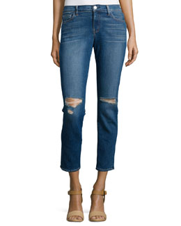 Authentique Mon Jules Distressed Slim-Fit Cropped Jeans, Blue