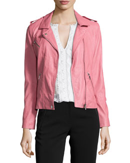 Washed-Leather Zip-Trim Jacket, Guava
