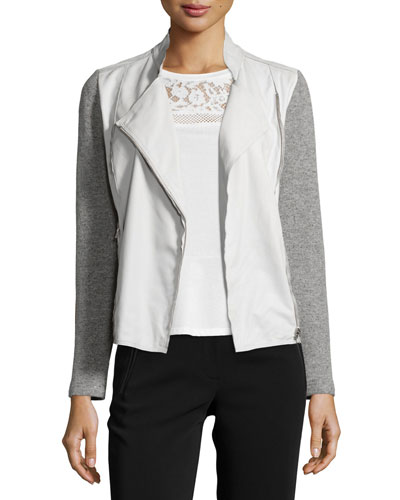 Leather-Trim Zip-Front Sweater, Gray/White
