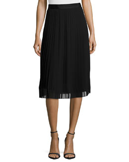 Georgia Pleated Chiffon Skirt, Black