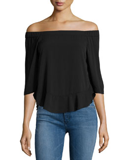 Tiered Off-the-Shoulder Georgette Top, Black