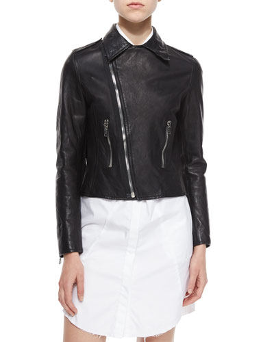 Morisson Fringe-Trim Leather Jacket, Black