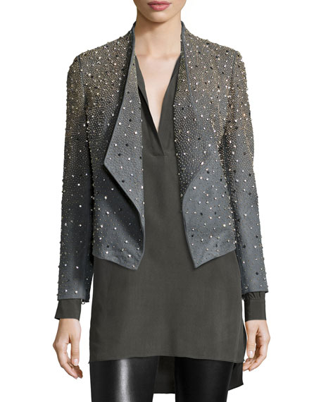 Oliver Studded Leather Jacket, Gray