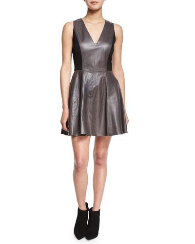Reza Leather A-Line Dress, Black/Gray