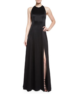 Wen Leather-Trim Satin Gown, Black