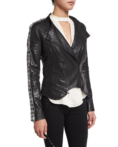 Embellished-Sleeve Leather Moto Jacket, Black