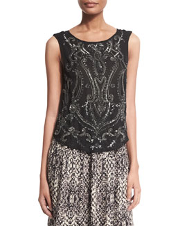 Paisley Embellished Silk Tank, Black