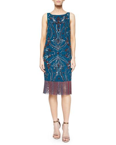 Sleeveless Embroidered Dress w/ Fringe Hem