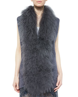 Vest with Mongolian Lamb Fur Collar, Mid Gray