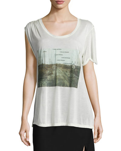 I Lost Myself Asymmetric Graphic Tee, Swan