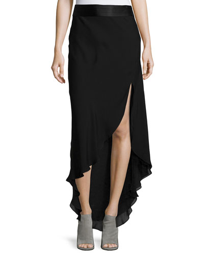 Chiffon High-Low Maxi Skirt, Black