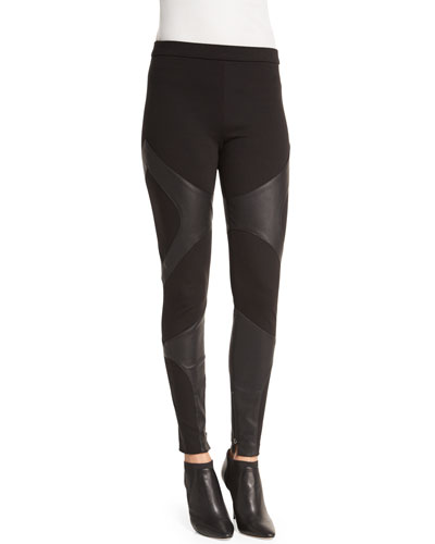 Ponte Pants with Leather Panels, Black