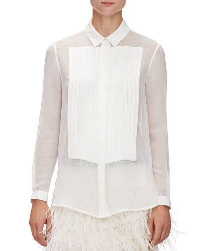 Pleated Front Silk Tux Blouse, Swan